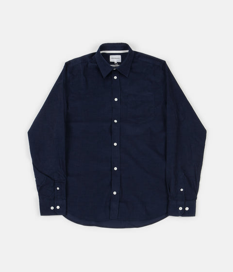 Norse Projects Osvald Corduroy Shirt - Navy Stripe