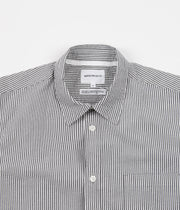 Norse Projects Osvald Seersucker Short Sleeve Shirt - Navy Stripe