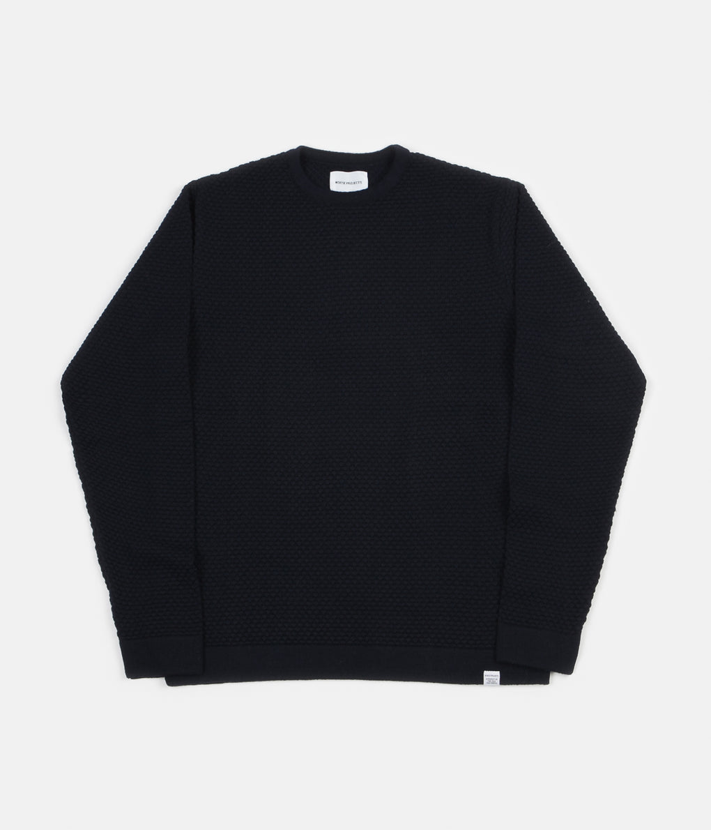Norse Projects Skagen All-Over Bubble Knit Jumper - Dark Navy