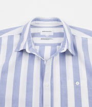 Norse Projects Theo Short Sleeve Oxford Shirt - Pale Blue Wide Stripe