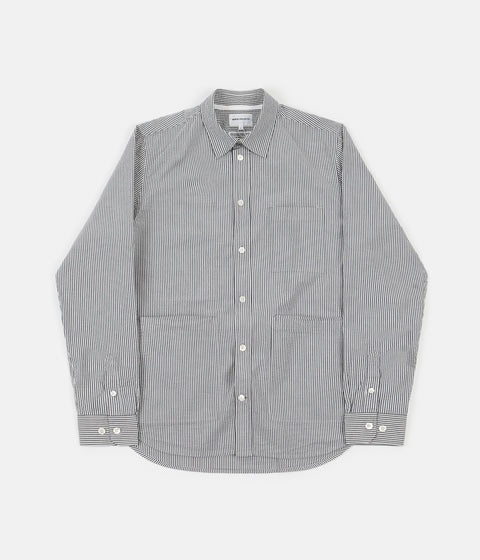 Norse Projects Thorsten Seersucker Shirt - Navy Stripe