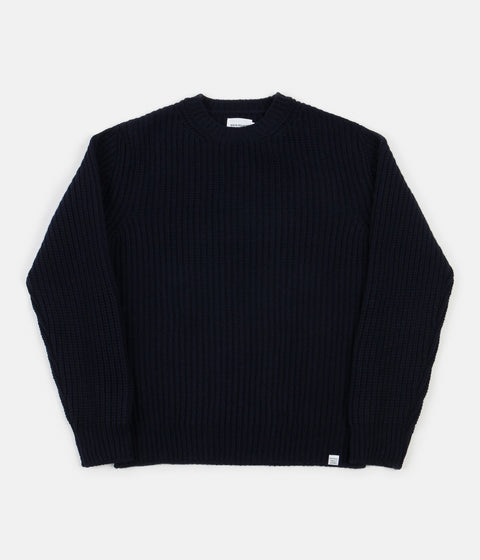 Norse Projects Viggo Military Stitch Crewneck Sweatshirt - Dark Navy