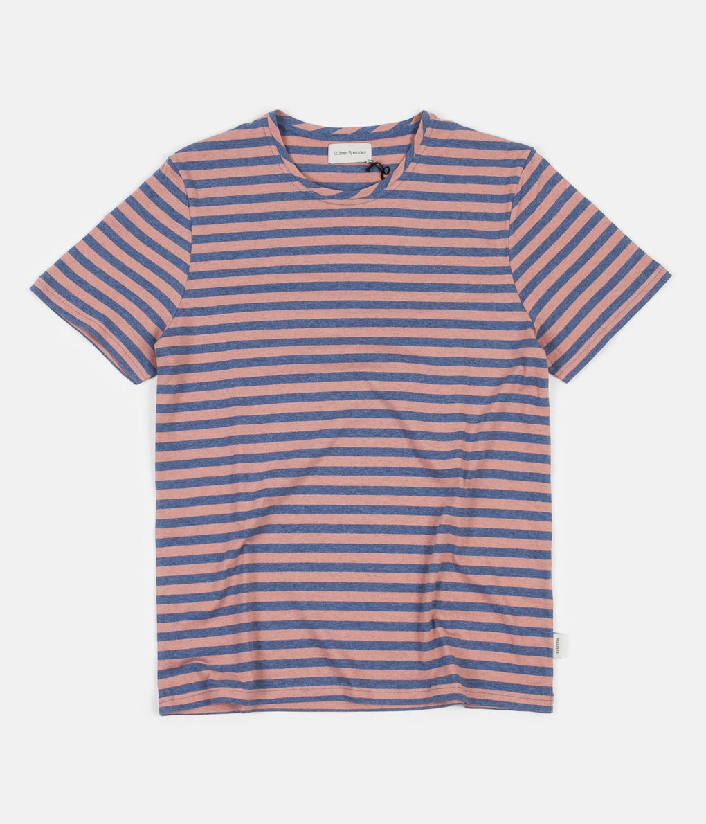 Oliver Spencer Conduit T-Shirt - Capri Pink / Sky Blue
