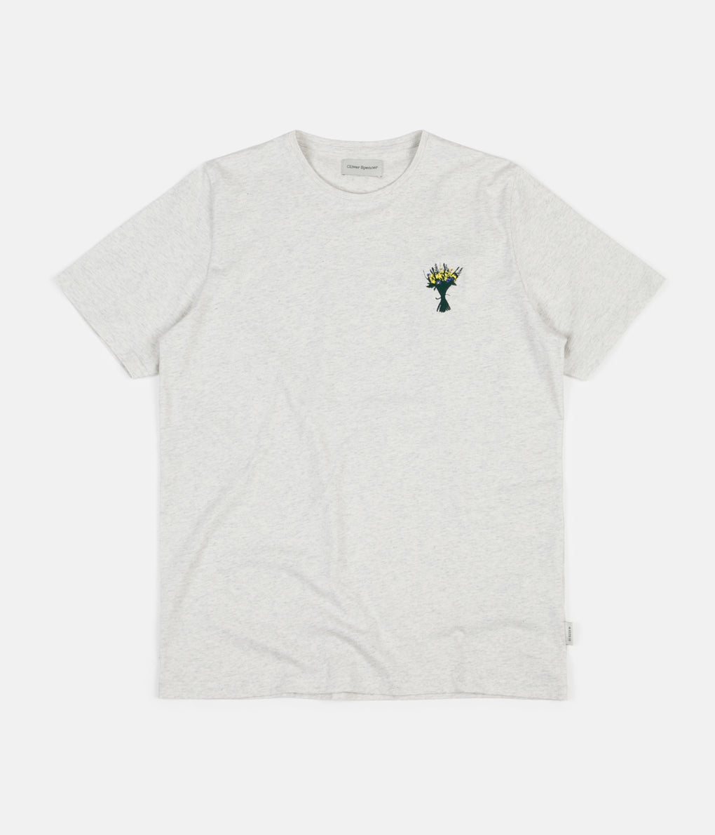Oliver Spencer Wild Flower Embroidery T-Shirt - Warren Oatmeal