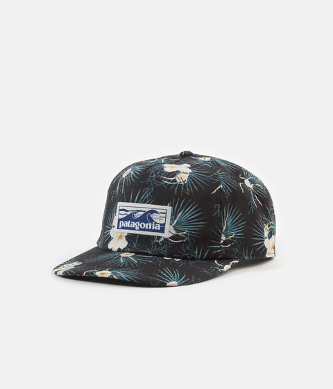 Patagonia Boardshort Label Funfarer Cap - Bayou Palmetto Small: Ink Black