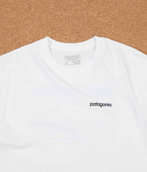Patagonia Line Logo Badge T-Shirt - White / Smoulder Blue
