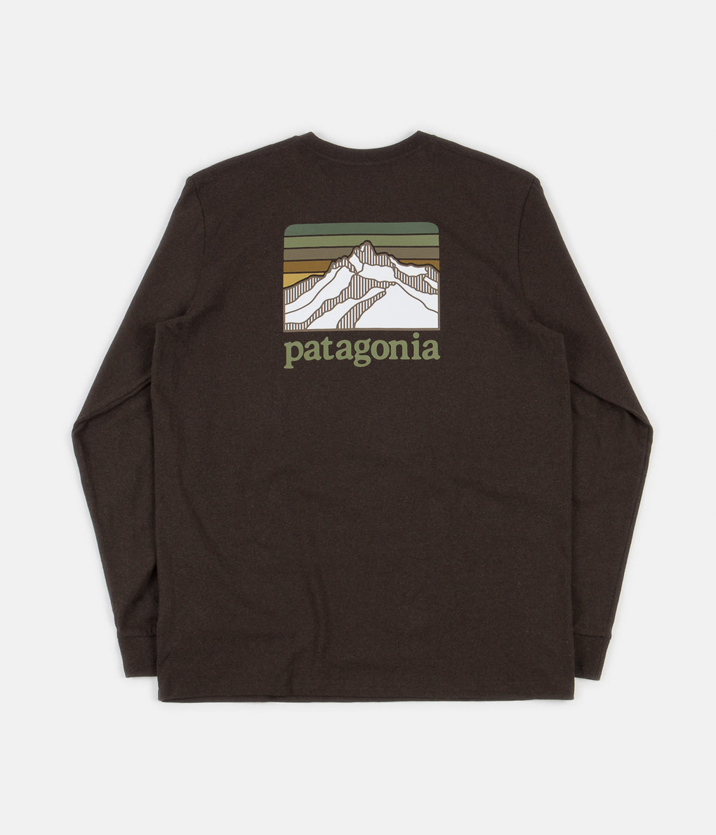 Patagonia Line Logo Ridge Responsibili-Tee Long Sleeve T-Shirt - Logwood Brown