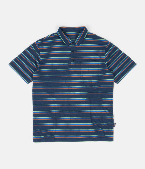 Patagonia Organic Cotton Lightweight Polo Shirt - Pacific Stripe: Stone Blue