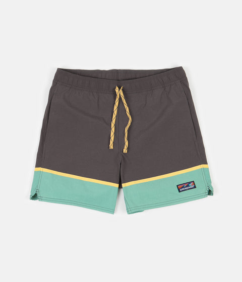 "Patagonia Stretch Wavefarer 16"" Volley Shorts - Bottom Leg Stripe: Forge Grey"