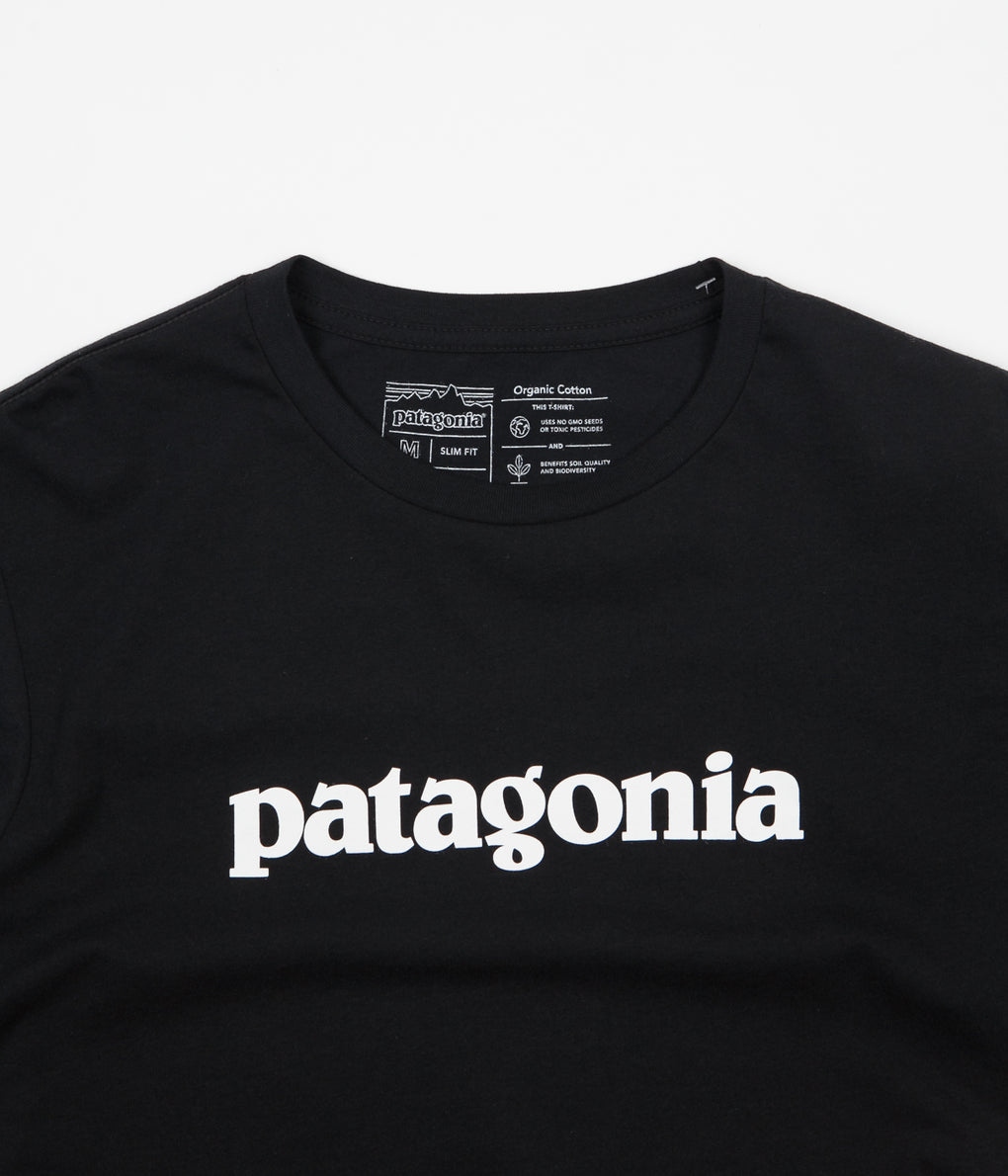 Patagonia Text Logo Organic T-Shirt - Black