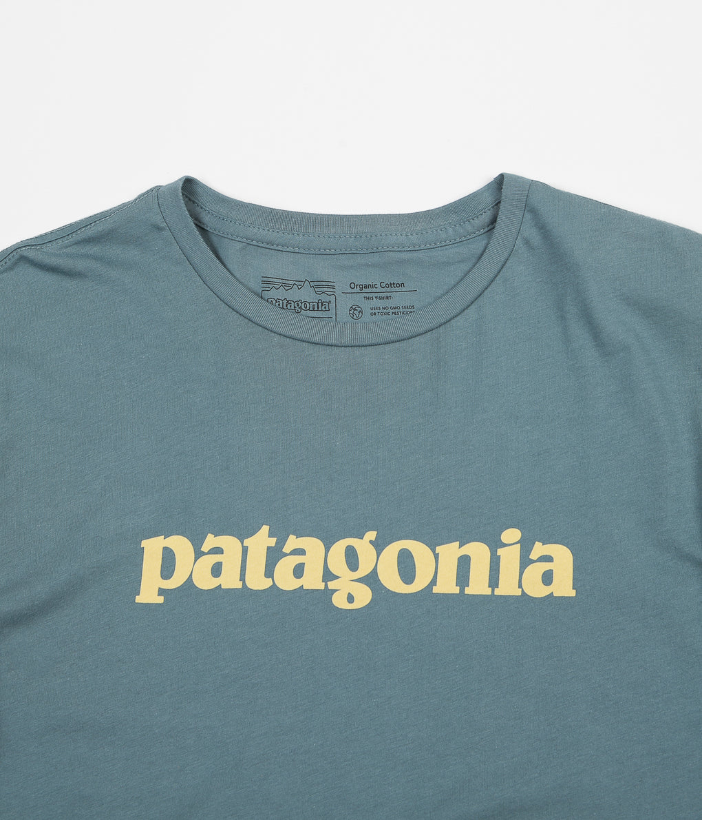 Patagonia Text Logo Organic T-Shirt - Shadow Blue