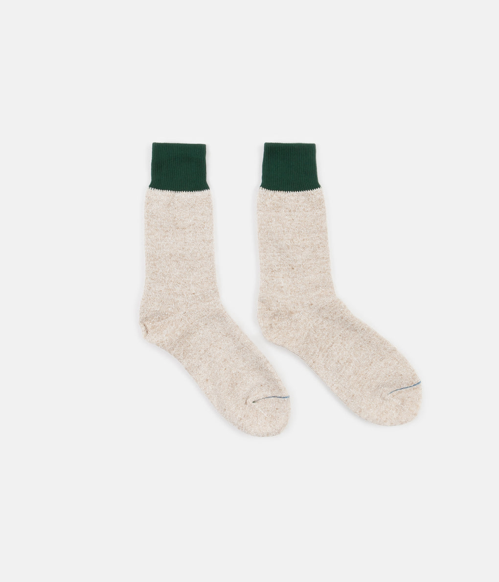 RoToTo Double Face Silk Blend Socks - Green / Beige