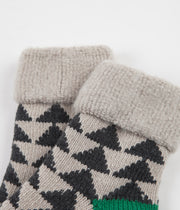 RoToTo Sankaku Comfy Room Socks - Charcoal / Green