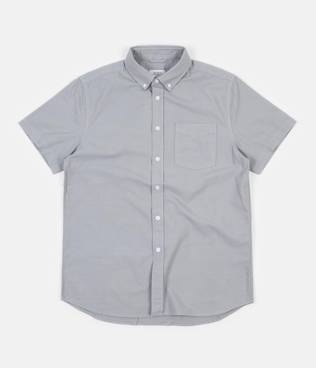 Saturdays NYC Esquina Short Sleeve Oxford Shirt - Stone Blue