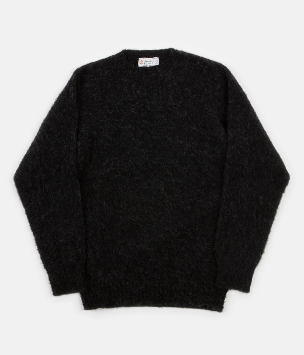 Shetland Woollen Co. Heavy Brushed Shaggy Crewneck - Black