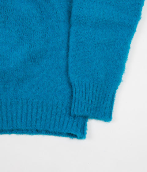 Shetland Woollen Co. Heavy Brushed Shaggy Crewneck - Cyan