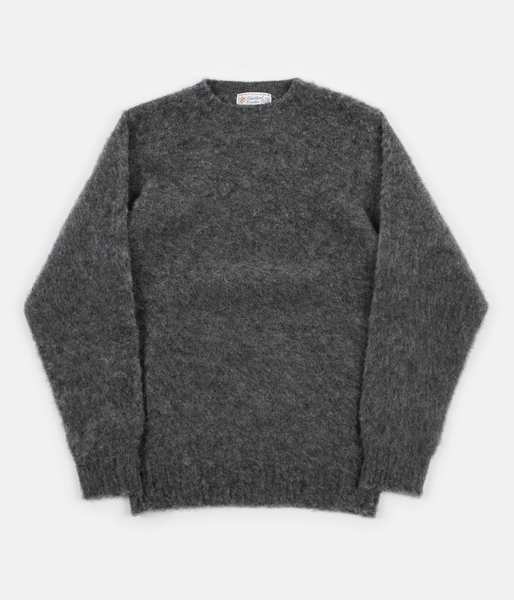 Shetland Woollen Co. Heavy Brushed Shaggy Crewneck - Grey