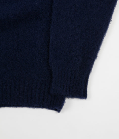 Shetland Woollen Co. Heavy Brushed Shaggy Crewneck - Navy Blue