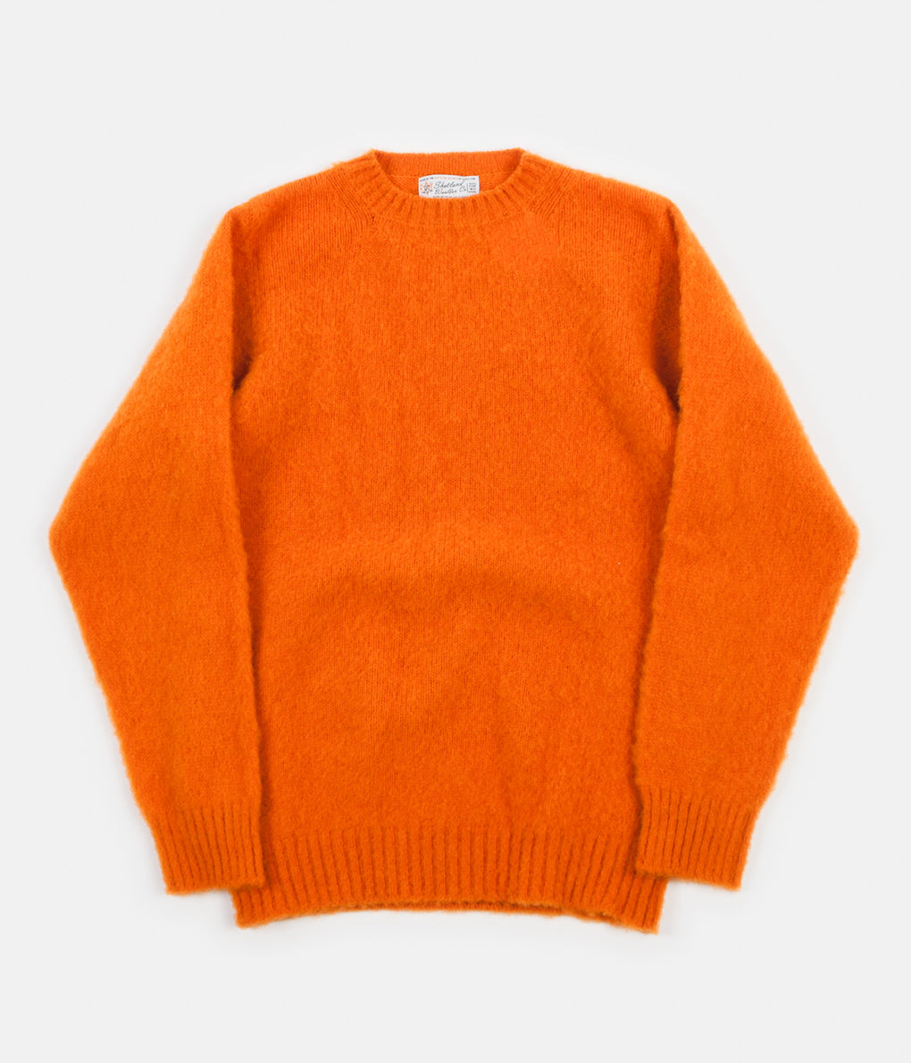 Shetland Woollen Co. Heavy Brushed Shaggy Crewneck - Orange