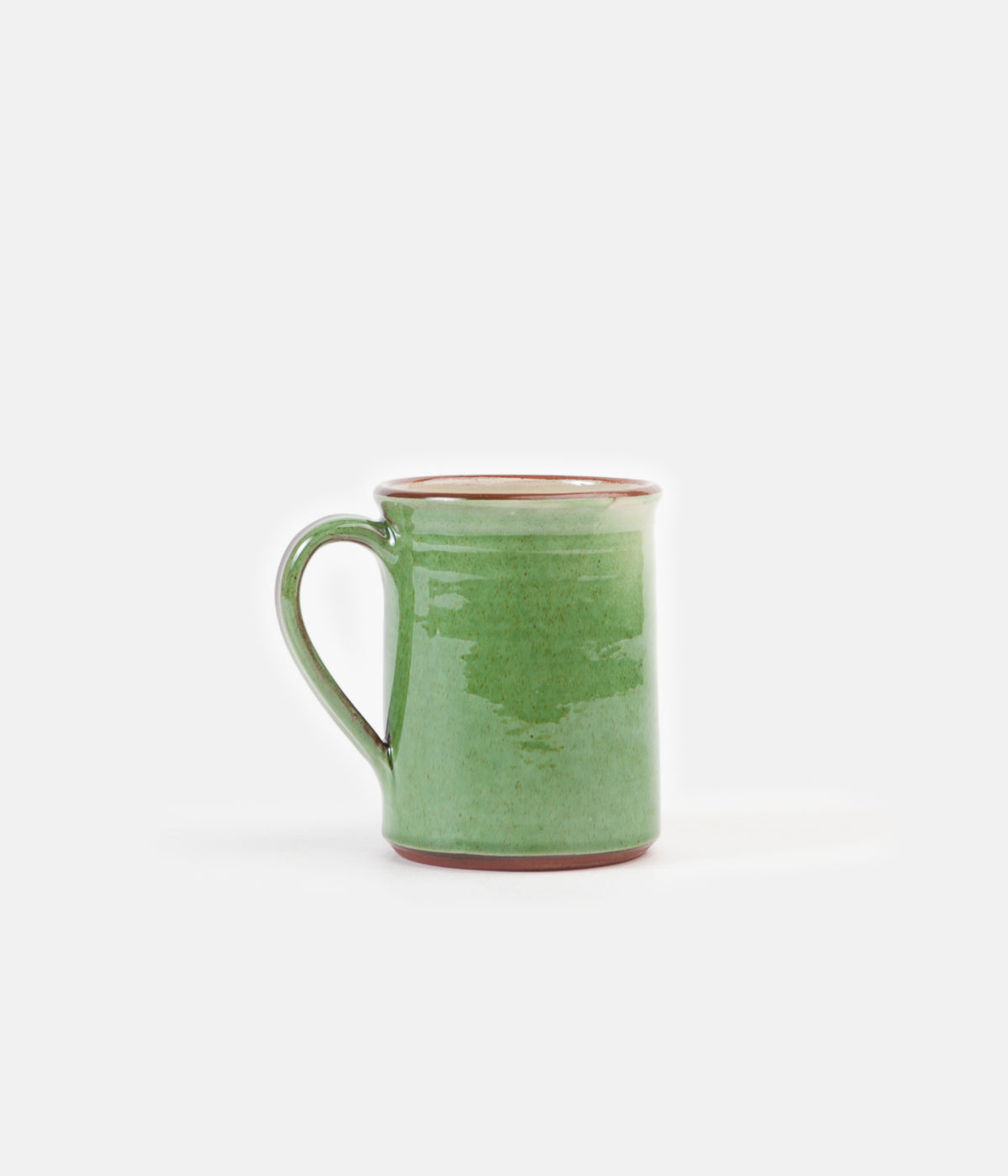 Tender Hand Thrown Natural Red Clay Coffee Mug Green Glaze Always In Colour