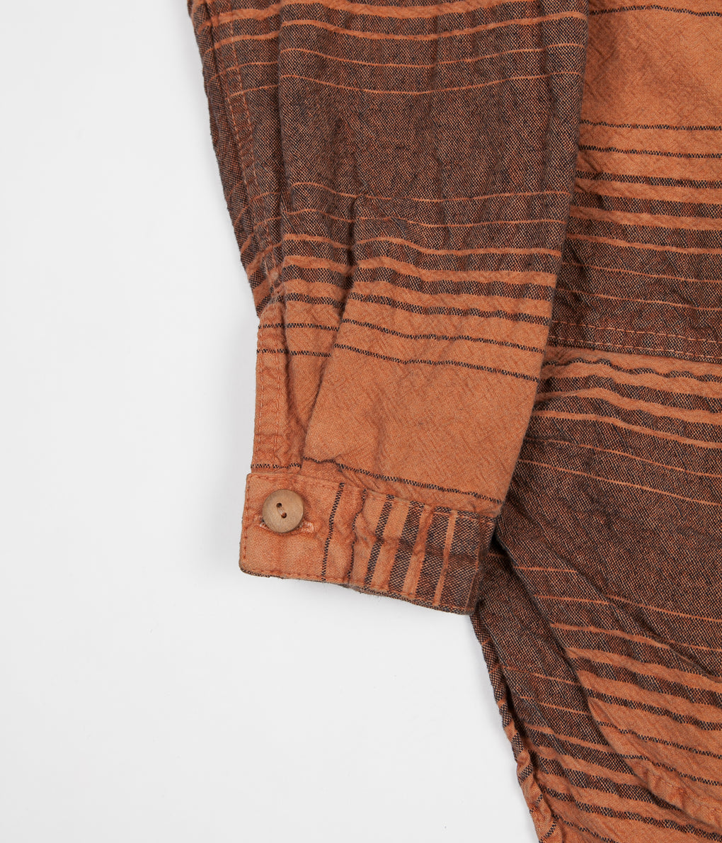 Tender Type 427 Periscope Pocket Tail Shirt - Indigo Doppler Stripe Calico Red Ochre Dye