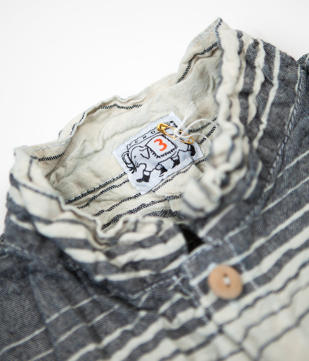 Tender Type 427 Periscope Pocket Tail Shirt - Indigo Doppler Stripe Calico Rinse Wash