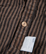 Tender Type 433 Raglan Wallaby Short Sleeve Shirt - Indigo Welsh Stripe Calico Walnut Dye