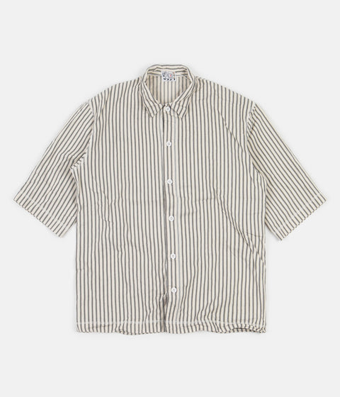 Tender Weavers Stock Short Sleeved Square Shirt - Black Mattress Stripe