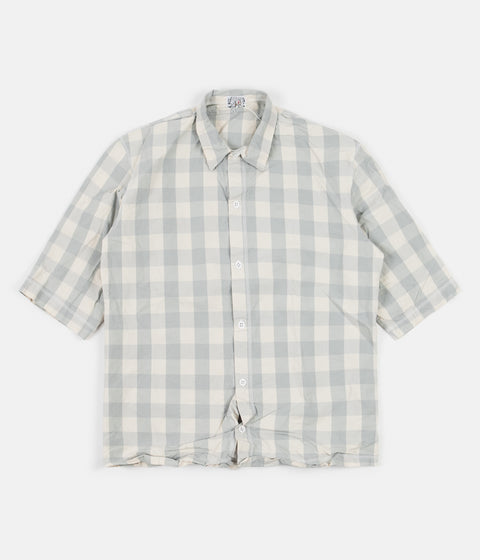 Tender Weavers Stock Short Sleeved Square Shirt - Grey Broad Check