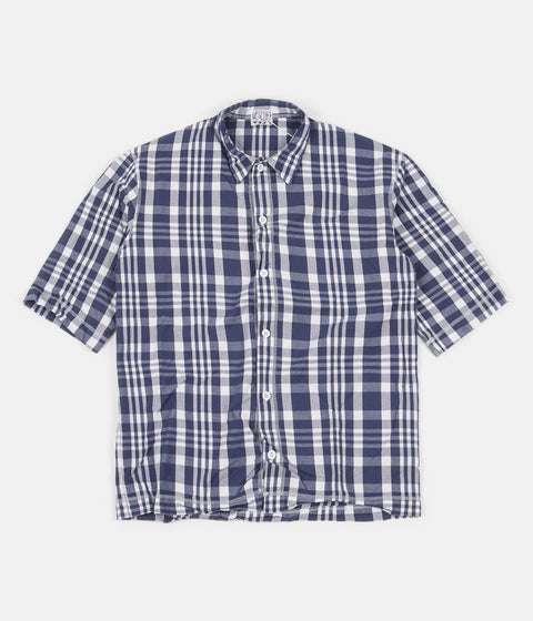 Tender Weavers Stock Short Sleeved Square Shirt - Navy Picnic Check