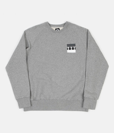 The Trilogy Tapes Block Crewneck Sweatshirt - Grey Marl