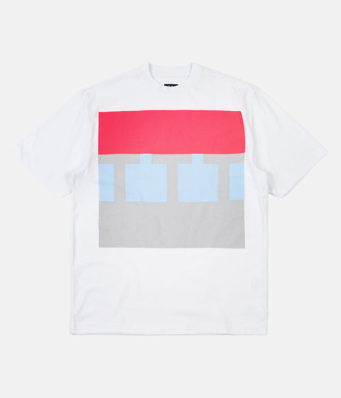 The Trilogy Tapes Block T-Shirt - Pink / Teal / Grey