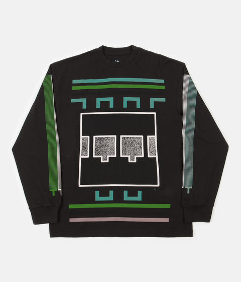 The Trilogy Tapes TTT Block Noise Long Sleeve T-Shirt - Black