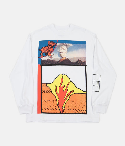 The Trilogy Tapes Volcano Long Sleeve T-Shirt - White