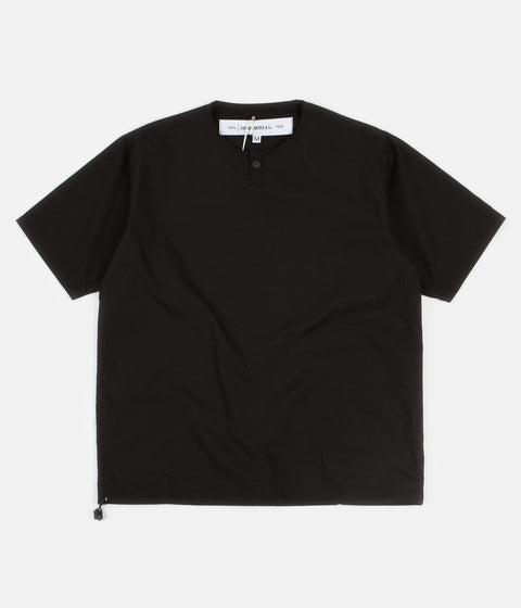 Uniform Bridge Cotton Henley Short Sleeve Shirt - Black