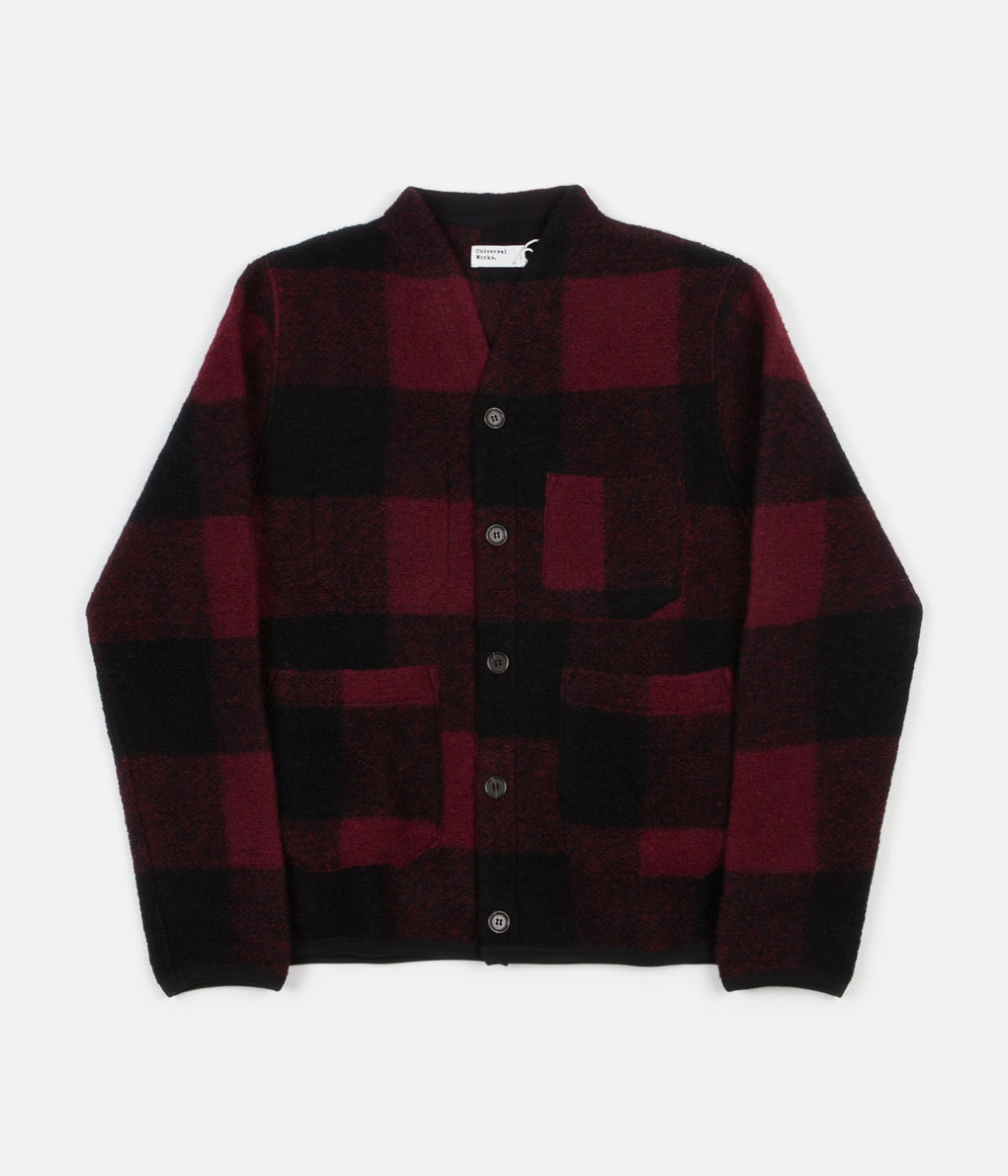 Universal Works Check Wool Fleece Cardigan - Red Check