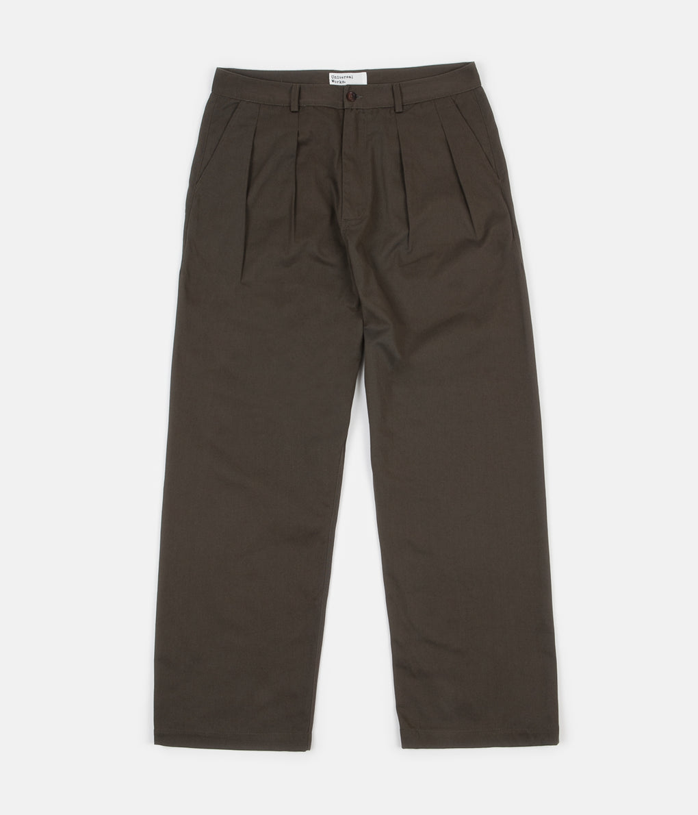 Universal Works Double Pleat Trousers - Olive