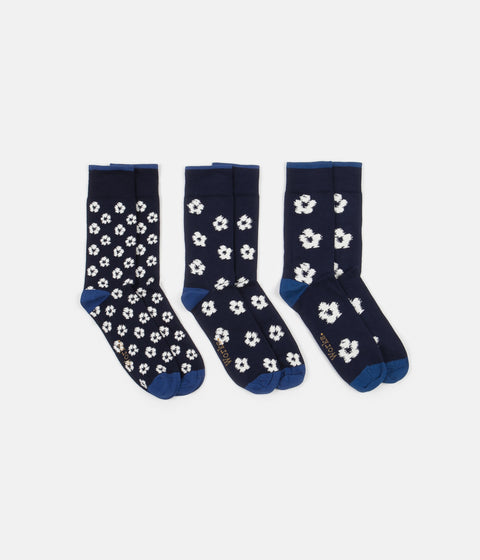Universal Works Flower 3 Pack Socks - Jacquard Navy