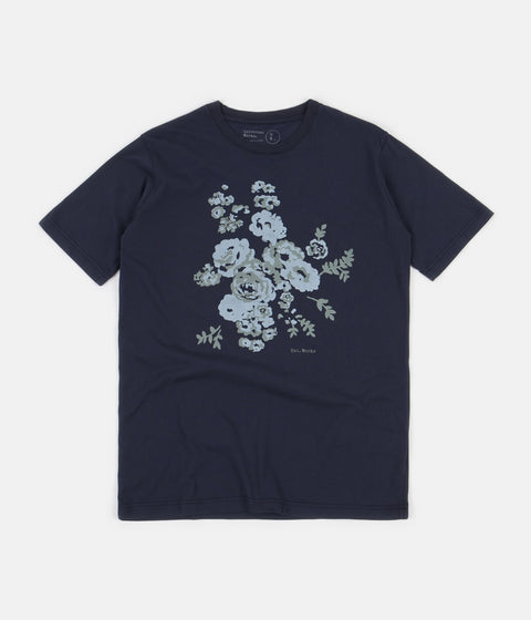 Universal Works Flower Print T-Shirt - Navy