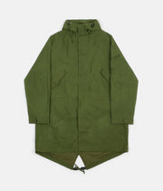 Universal Works Scottish Wax Cotton Parka - Green