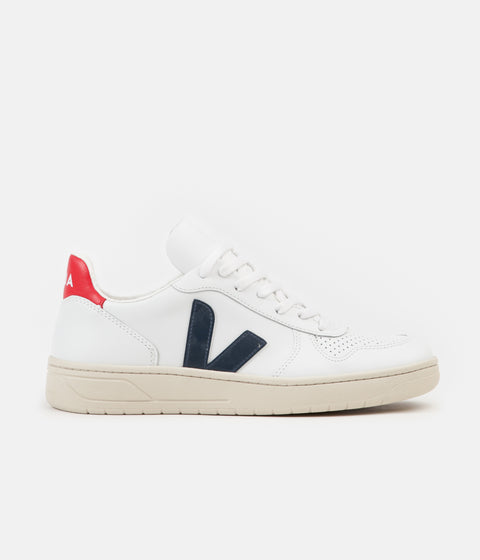 Veja V-10 Leather Shoes - Extra White / Nautico Pekin