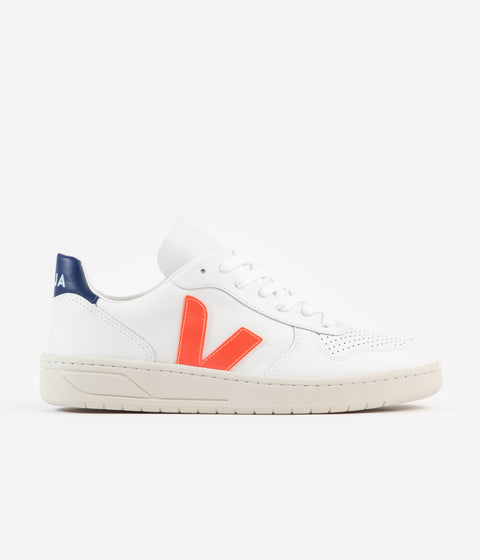 Veja V-10 Leather Shoes - Extra White / Orange Fluoro / Cobalt