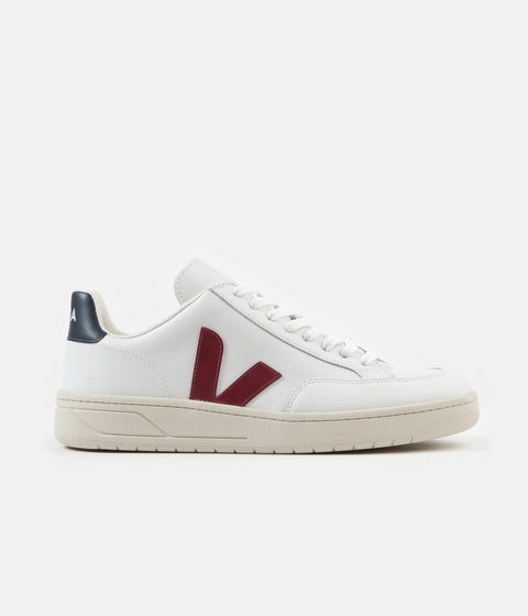 Veja V-12 Leather Shoes - Extra White / Marsala / Nautico