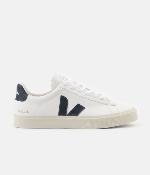 Veja Womens Campo ChromeFree Leather Shoes - White / Nautico