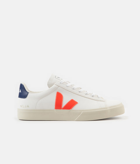 Veja Womens Campo ChromeFree Shoes - Extra White / Orange Fluoro / Cobalt