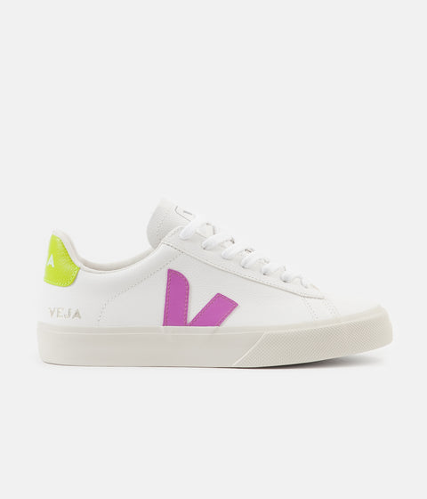 Veja Womens Campo Easy Shoes - Extra White / Ultraviolet / Jaune Fluo