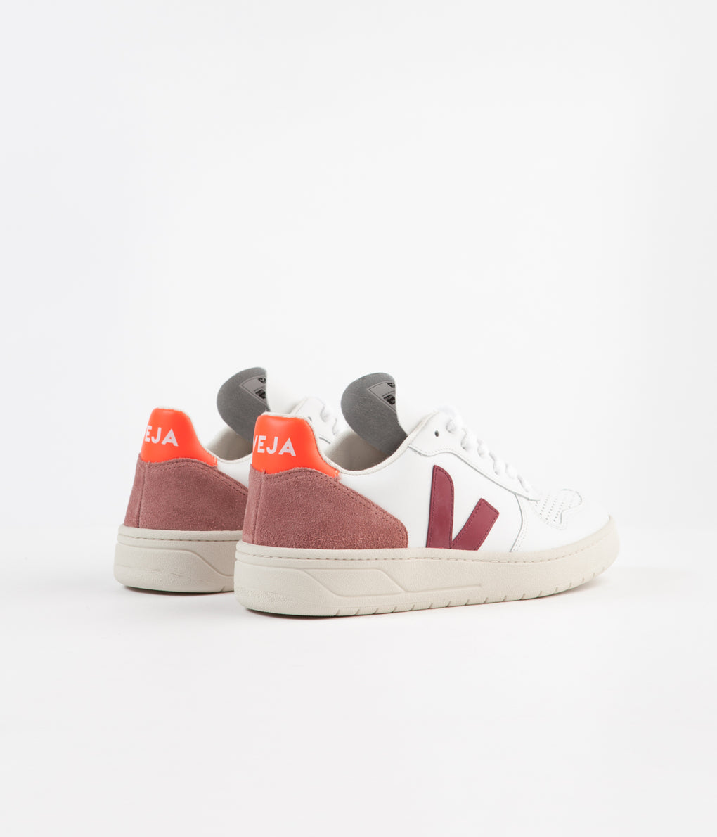 Veja Womens V-10 Leather Shoes - Extra White / Marsala / Dried Petal / Orange Fluoro