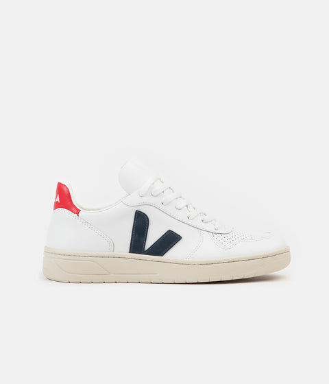 Veja Womens V-10 Leather Shoes - Extra White / Nautico / Pekin