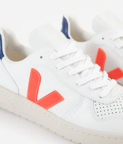 Veja Womens V-10 Leather Shoes - Extra White / Orange Fluoro / Cobalt