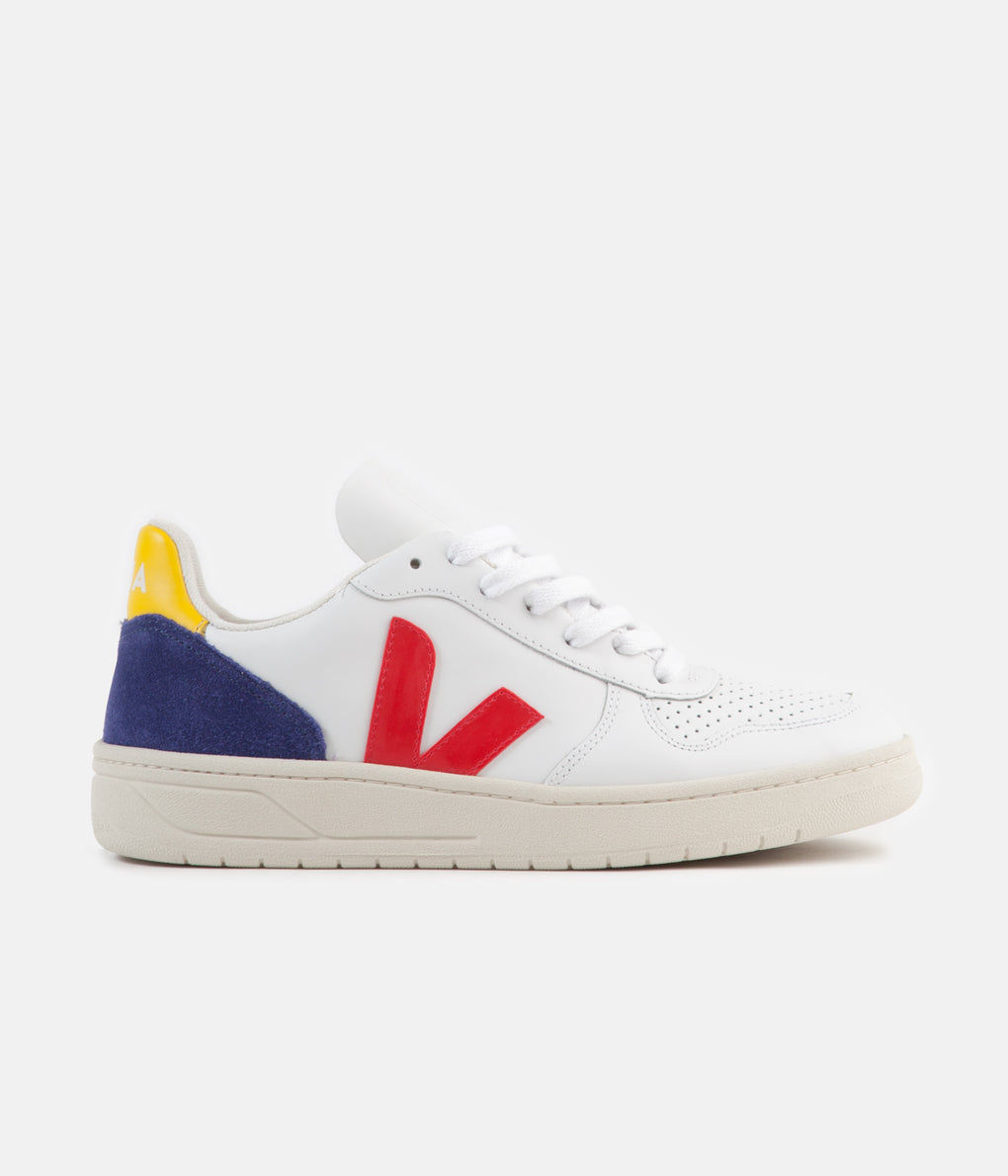 Veja Womens V-10 Leather Shoes - Extra White / Pekin / Cobalt / Tonic
